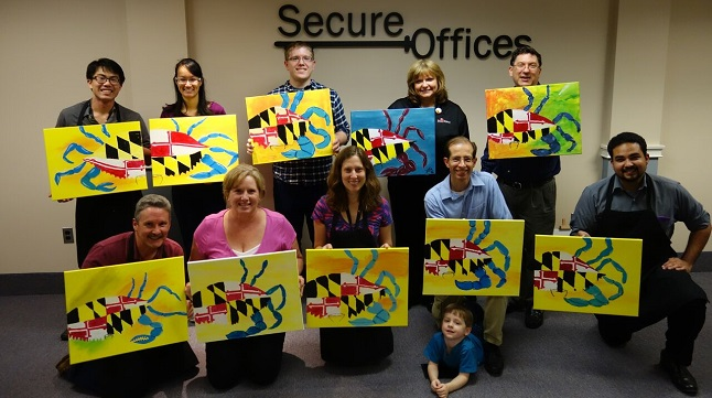 paint night group picture